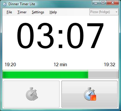 Dinner Timer Lite is an easy to use timer for the kitchen PC with customise your alarm sounds and Twitter notifier as well as a unique after burn timer and configurable transparency.
